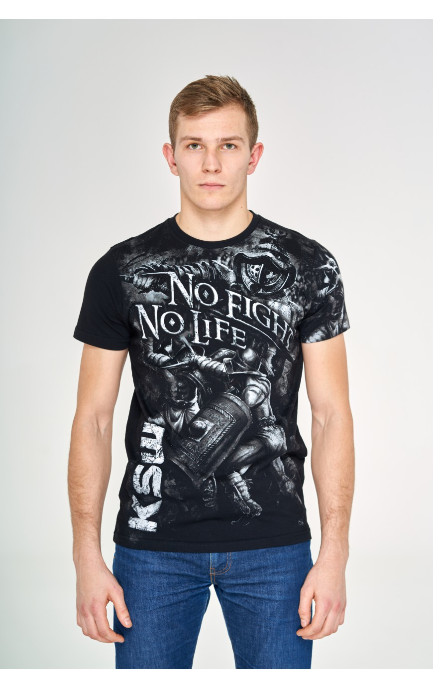 T-shirt Czarny No Fight No Life